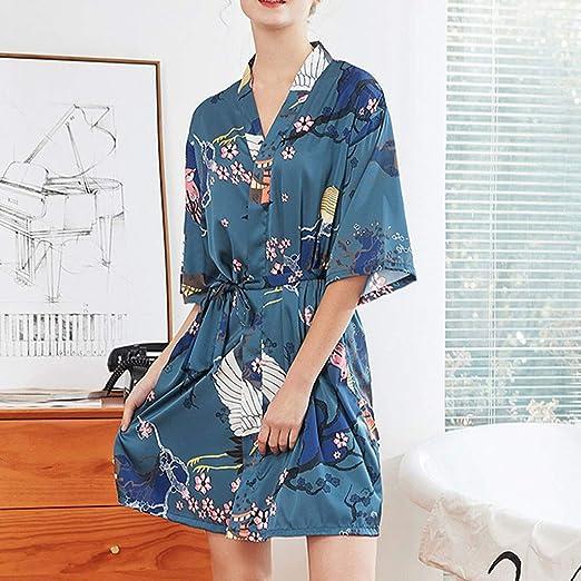 Camison Sexy Mujer con Bata ❤️Absolute Camisón de satén de Mujer Vestido Camisero con cinturón de Mujer Pijamas Mujer Sexy Verano Ropa de Dormir Mujer ...