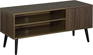 TV Console, TV Stand with 2 Storage Shelves& 1 Cabinet Mid-Century Modern Entertainment Centre for Flat Screen TV in Living Room, Office, Brown