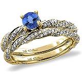 14K White/Yellow Gold Diamond Natural Tanzanite 2pc Twisted Engagement Ring Set Round 4 mm, size5-10