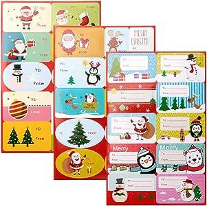 Vidillo Christmas Santa Gift Tag Stickers Self Adhesive Snowman Xmas Tree Deer Christmas Holiday Festival Birthday Wedding Decorative Presents Labels Decals for Friends 160 pcs/15 Sheet