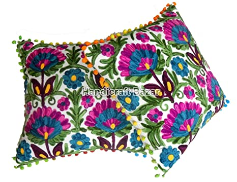4 fundas de cojín bordadas indias, decorativas, con pompón ...