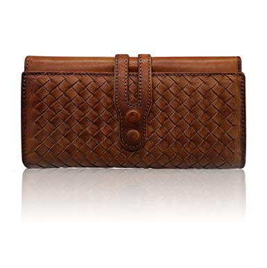 c82c8968b4c11 Wallets for Women Genuine Leather Handmade Ladies Woven Wallet Purse  Knitting Card Holder(Brown)