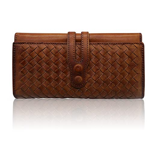 Wallets for Women Genuine Leather Handmade Ladies Woven Wallet Purse  Knitting Card Holder(Brown) 024a54ac7
