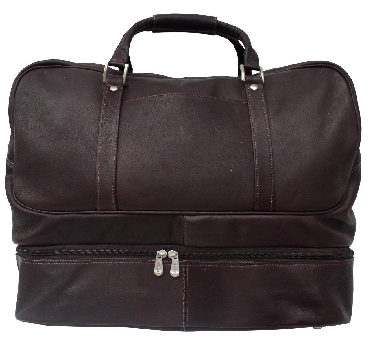 923e41b7073f Piel Leather False-Bottom Sports Bag, Chocolate, One Size