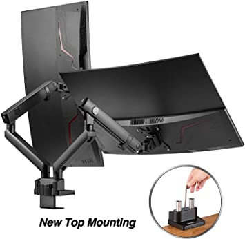 """AVLT-Power Dual 32"""" Monitor Desk Stand - Easy Installation New Top Mounting - Mount Two 17.6 lbs Computer Monitors on 2 Full Motion Adjustable Arms - Organize Your Work Surface with VESA Monitor Mount"""