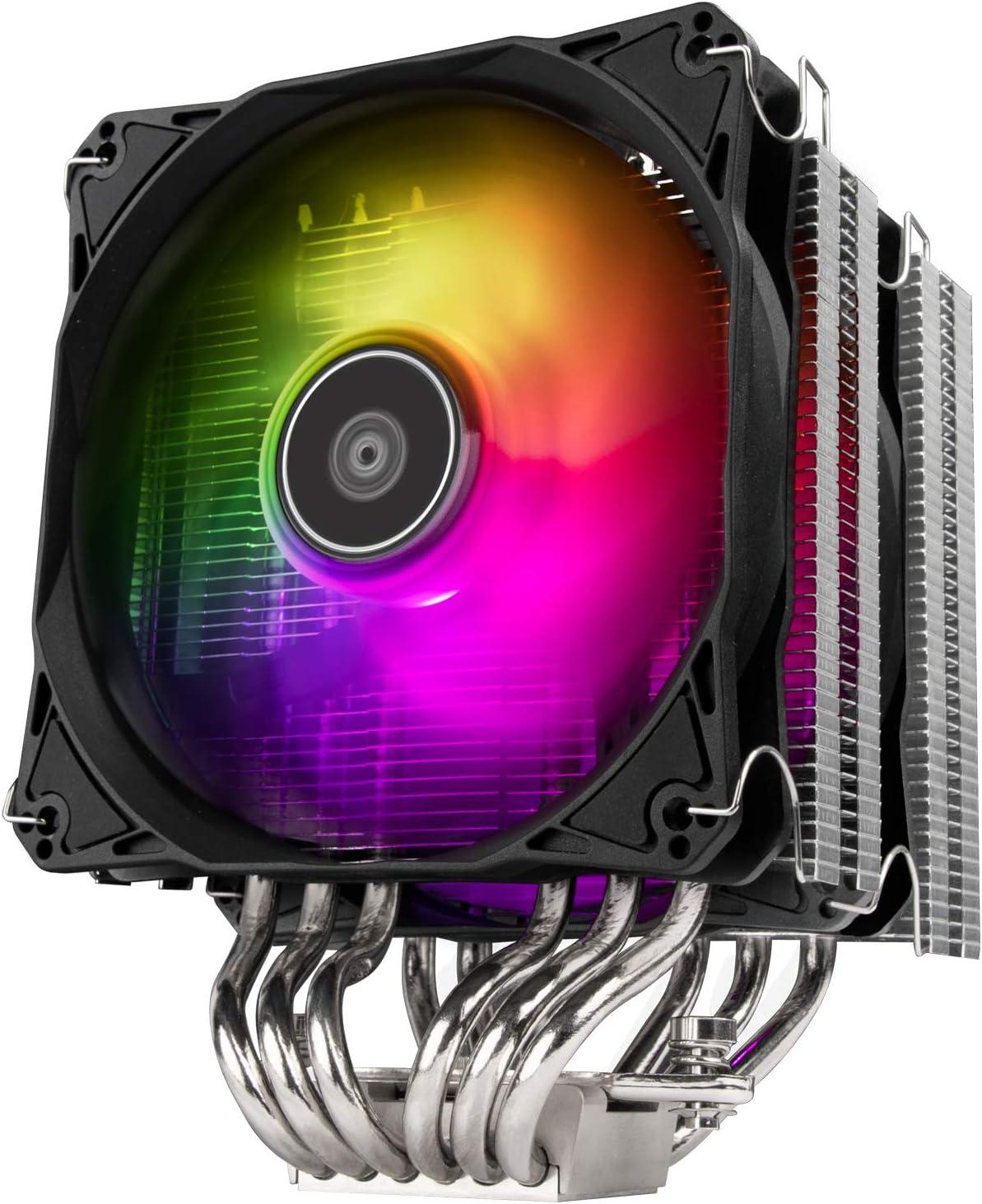 SilverStone Technology Hydrogon D120 ARGB, Disipador Dual para CPU Torre con 6 Tubos isotérmicos y Ventiladores ARGB duales de 120mm, SST-HYD120-ARGB