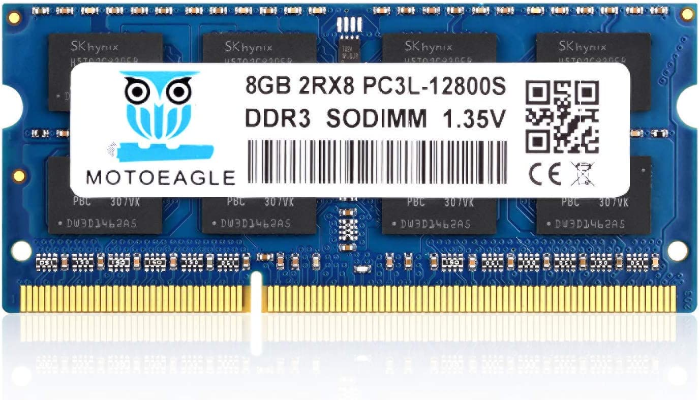 Motoeagle 8GB DDR3 DDR3L-1600 SODIMM PC3L-12800S Non ECC Unbuffered 1.35V CL11 2Rx8 Dual Rank 204-Pin Laptop Memory Ram Module Upgrade