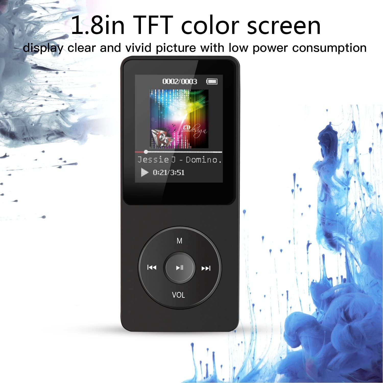 gaixample.org Black AGPTEK MP3 Player 8GB Portable for Sport Sound ...
