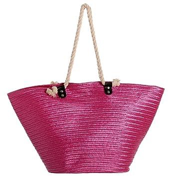Bolsa de Playa de Rafia plástica Impermeable Rosa Moderna ...