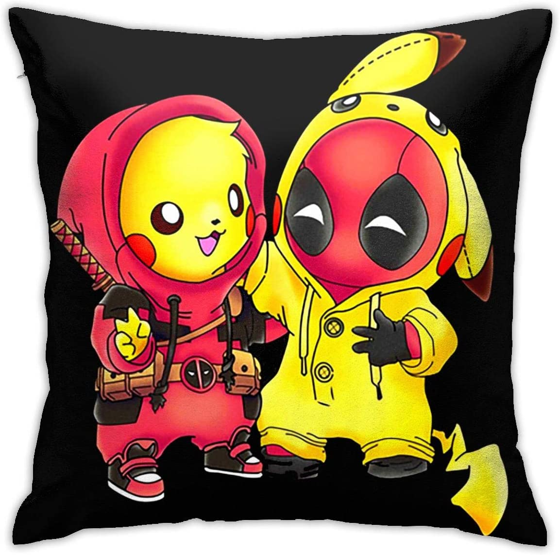 SUNERLADY Pikachu Pet Monster and Deadpool Pikapool Throw Pillow Cover Decorative Pillowcase Creative Home Decor Pillowcases 18x18 Inches