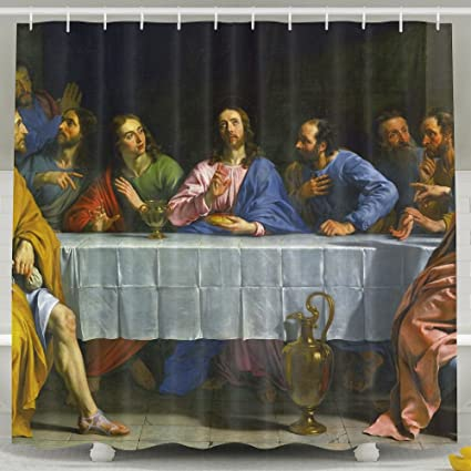 Amazon Religious Jesus Fashion Shower Curtain Deluxe Waterproof