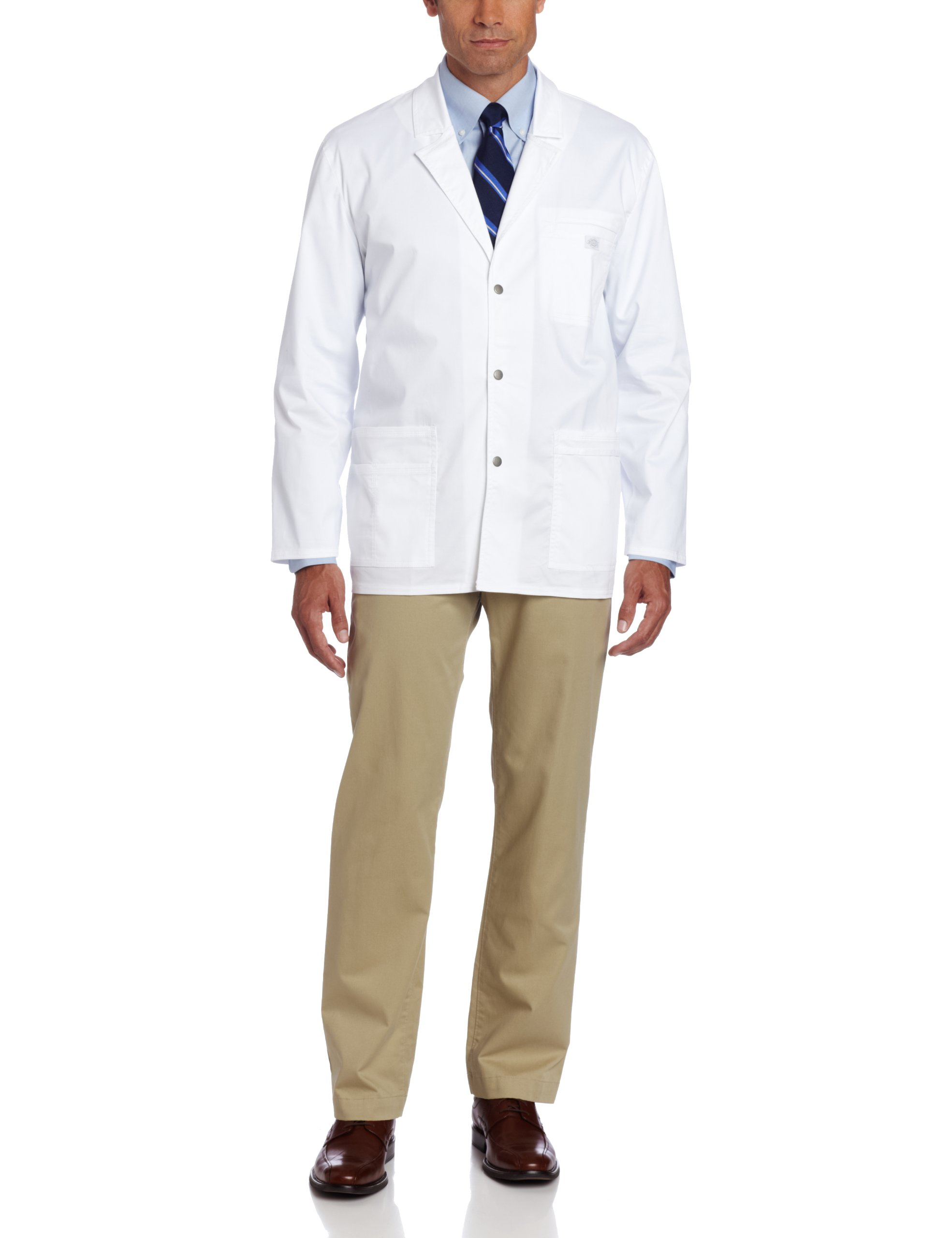 Dickies Men's Gen Flex Youtility Contrast Stitch 31 Inch Lab Coat, White, Small