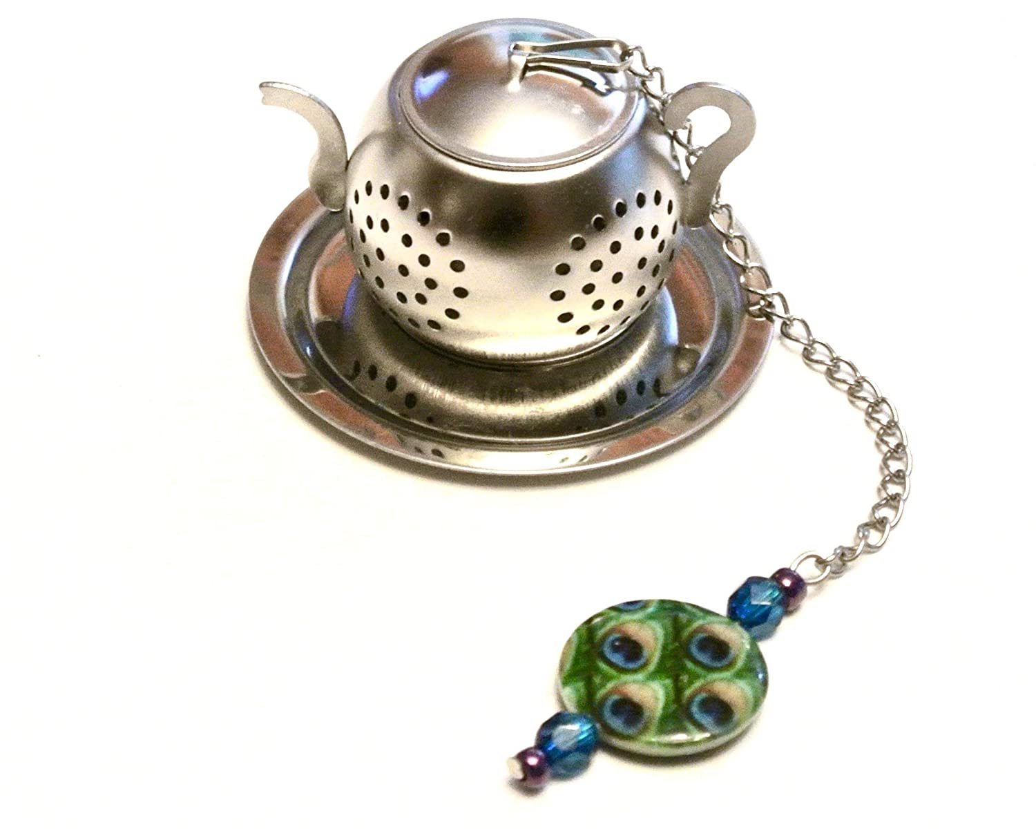 Peacock Feather Tea Infuser with Blue, Green, and Purple