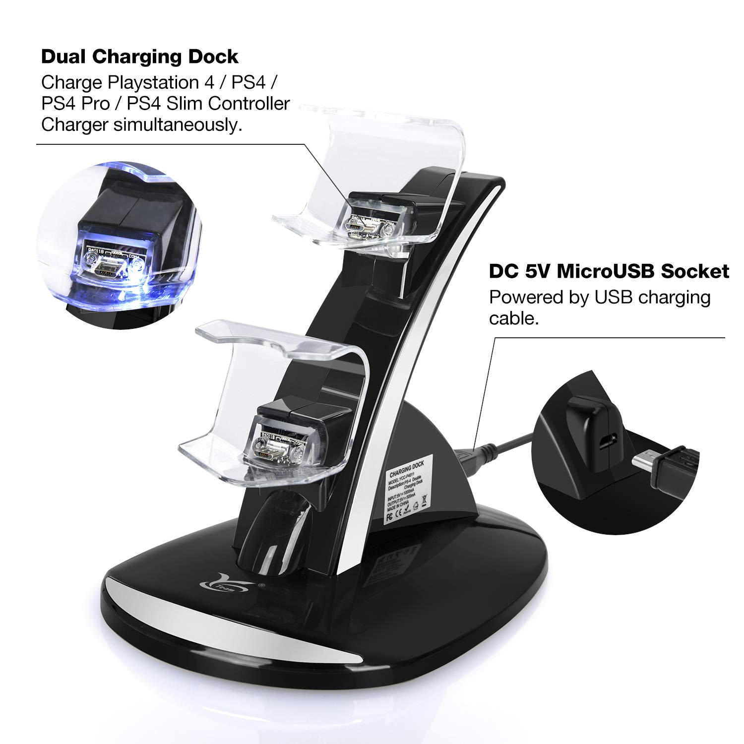 PS4 Controller Charger, Y Team Playstation 4 / PS4 / PS4 Pro / PS4 Slim Controller Charger Charging Docking Station Stand.Dual USB Fast Charging ...