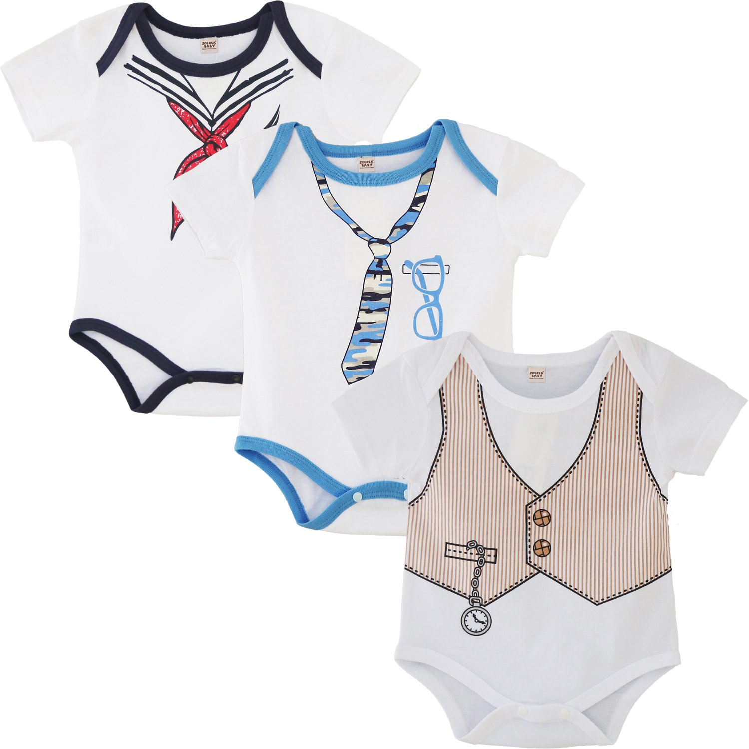 ZOEREA 3pcs Pack Baby Boy Girl Romper Infant Clothes YS2499