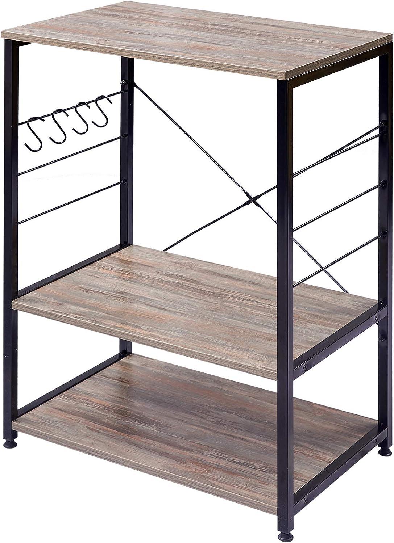 eSituro Estanter/ía Librer/ía Estante de Cocina Almacenamiento de Organizador Multifuncional para Microondas Libros Plantas con 4 Ganchos 3 Estantes Metal MDF 60x40x82CM Negro SSTR0061