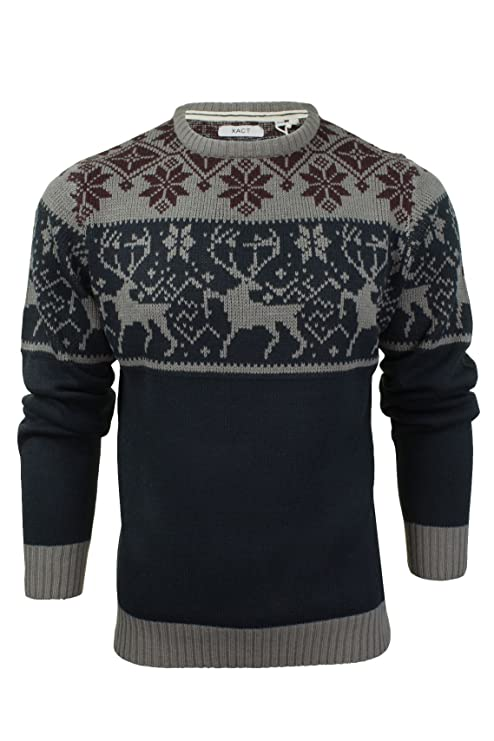 1940s Style Mens Shirts, Sweaters, Vests Xact Mens Christmas Jumper Xmas/Reindeer Stag £22.92 AT vintagedancer.com