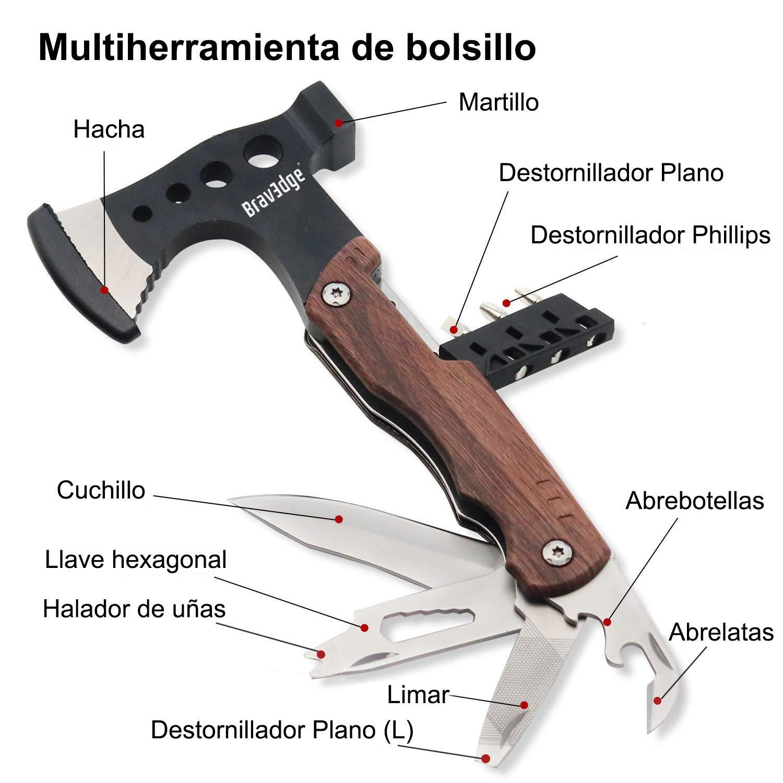 Bravedge Hacha Multiherramienta, Herramienta de Hacha Multiusos de Bolsillo, Con Cuchillo, Llave, Abrelatas, Portátil para Acampar, Caza, ...