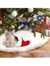 aytai 48 inches white faux fur christmas tree - White Christmas Tree Skirts