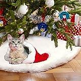 AerWo Faux Fourrure en sapin de Noël jupe, Blanche Jupe D'arbre de Noël pour Décoration de Noël