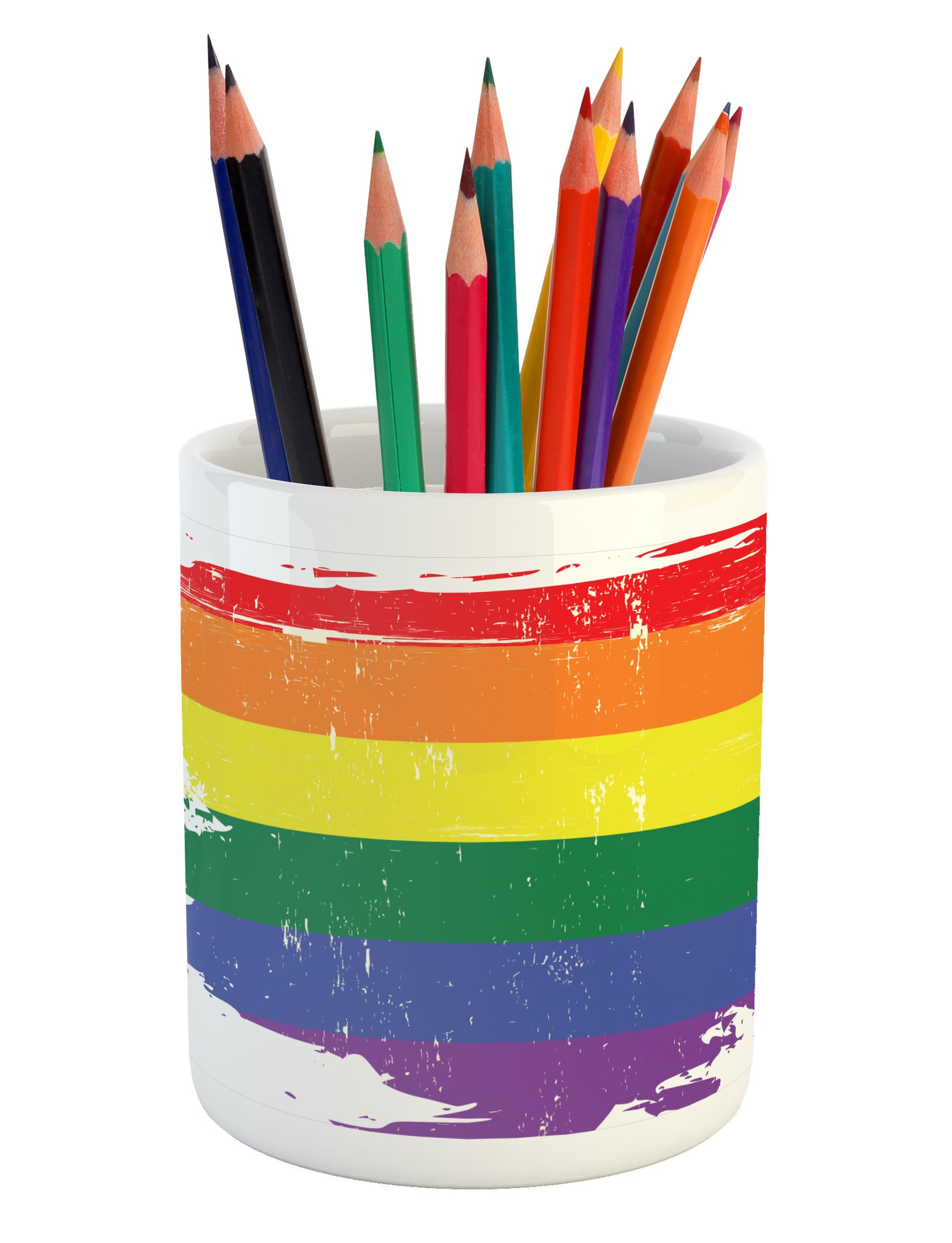 Ambesonne Vintage Rainbow Pencil Pen Holder, Colorful Grunge LGBT Flag Design Worn Out Stripes of Paint Gay Culture, Printed Ceramic Pencil Pen Holder for Desk Office Accessory, Multicolor