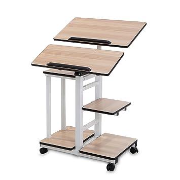 burei mobile workstation cart standing computer desk table on wheels for home office burei maple