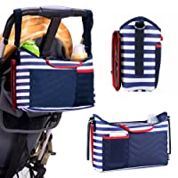 Haichen Navy Stripe Stroller Pram Buggy Organizer Storage Bag with 1 Removable Baby Diaper Changing Pad Large Organizer for Phone, Diapers, Toys and Accessories