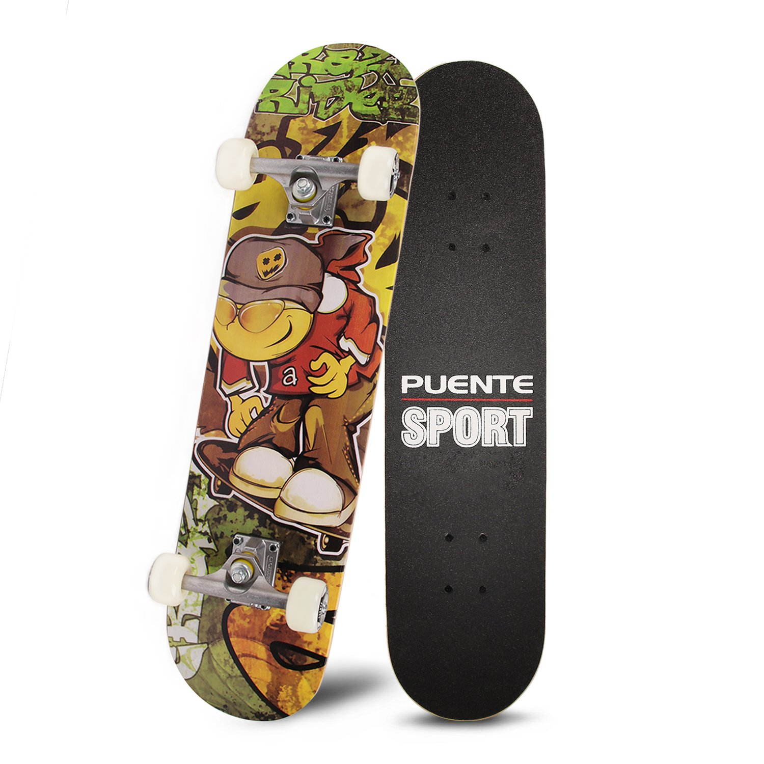 PUENTE 31'' Skateboards Complete,Tricks Skateboard for Beginners & Pro- 7 Layer Canadian Maple Wood Double Kick Concave Skateboard
