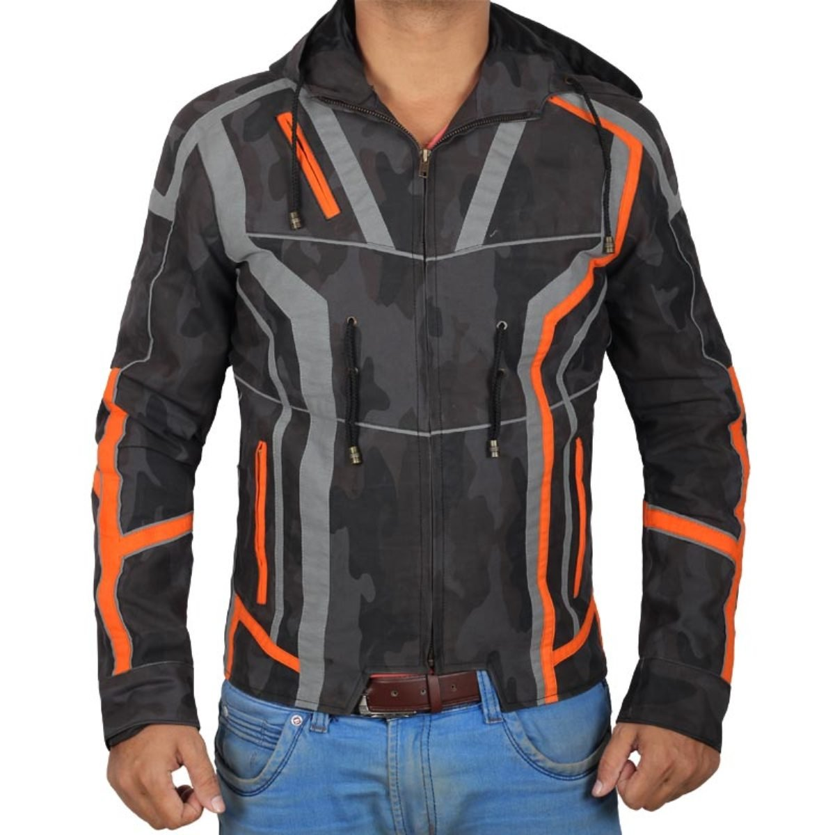 Decrum Mens Robert Zip Up Black Camouflage Jacket with Hoodie | XS