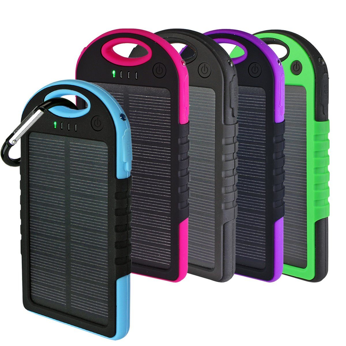 Solar Charger, Powercam, 10,000 mAh, Waterproof, Drop Resistant, Shockproof, for iPhones, iPads, Android, Samsung phones, GPS devices and Cameras (Black) by PowerCam