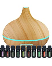 Ultimate Aromatherapy Diffuser & Essential Oil Set - Ultrasonic Diffuser & Top 10 Essential Oils - 300ml Diffuser with 4 Timer & 7 Ambient Light Settings - Therapeutic Grade Essential Oils - Lavender