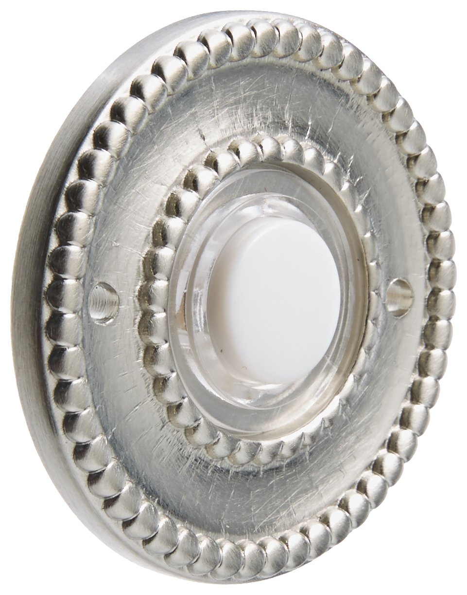 Baldwin 4850056 Beaded Bell Button, Lifetime Satin Nickel