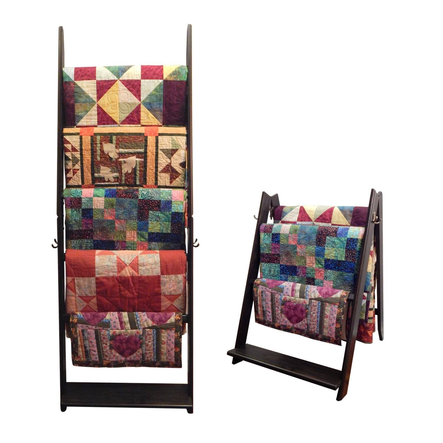 The LadderRack 2-in-1 Quilt Display Rack (5 Rung/24'' Model/Weathered Black) by Built by Briick Quilting
