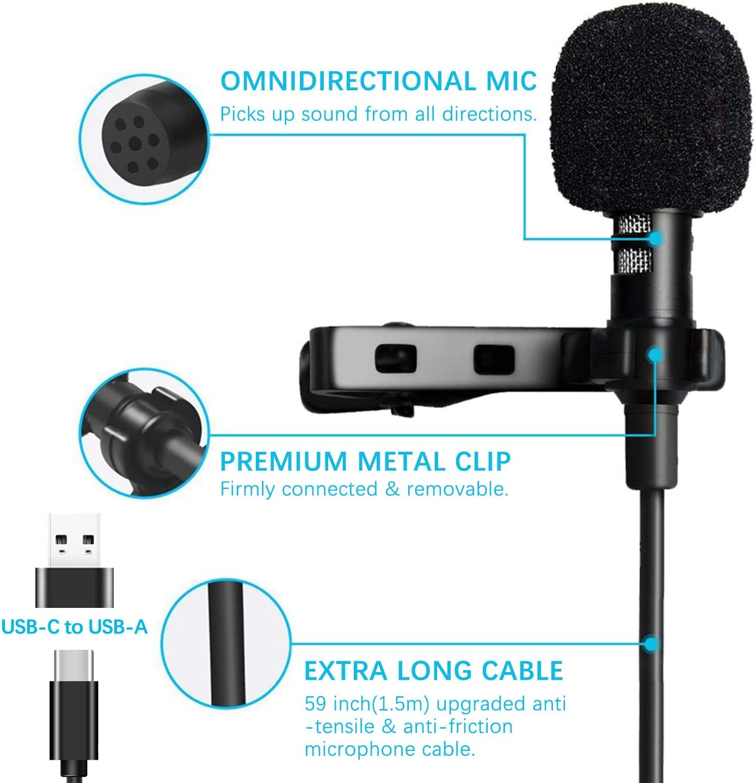 Daffodil MCP100B Mini Microfono para PC//Movil//Entrevista//Videoc/ámaras//Podcast//Grabadora//Vlog 3,5 mm Micr/ófono lavalier Omnidireccional Microfono Solapa Microfono de Condensador con Clip
