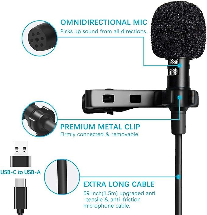 Grabaci/ón con Adaptador USB-C a USB-A 19.7 pies Micr/ófono de Omnidireccional USB-C Solapa para Youtube FULAIM Micr/ófono Lavalier USB Tipo C con Reducci/ón de Ruido para Android Entrevistas