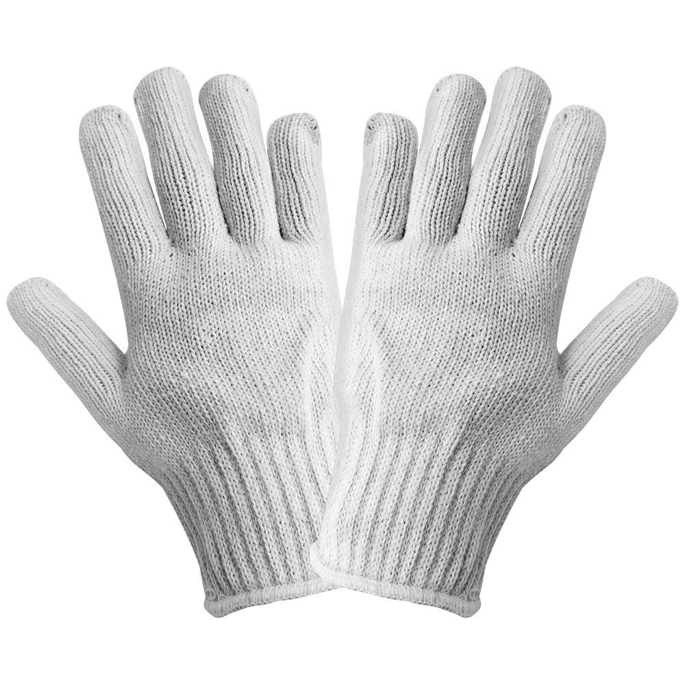 Global Glove S90BW Polyester/Cotton String Knit Glove, Work, Mens, White (Case of 300)