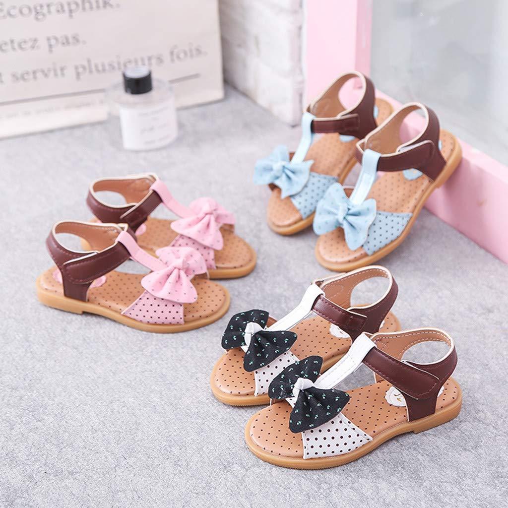 CieKen Baby Girls Sandals Summer Infant Baby Girls Sandals Striped Butterfly-Knot Single Princess Shoes Sandals