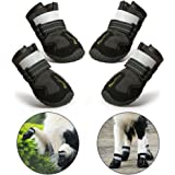RoyalCare Dog Boots Paw Protector, Set of 4 Waterproof Anti-Slip Soft Dog Shoes with Reflective for Medium and Large - Black (5#)