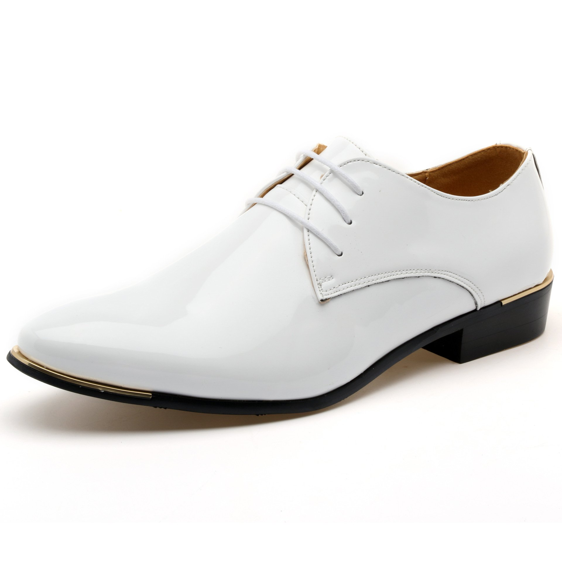 Z-joyee Mens Patent Leather Tuxedo Dress Shoes Lace up Pointed Toe Oxfords Formal Wedding Shoes, White, US 8.5