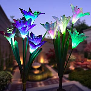 WOHOME Outdoor Solar Garden Stake Lights 2 Pack Solar Flower Lights with 8 Lily Flower,Multi-Color Changing LED Lily Solar Powered Lights for Patio,Yard Decoration,Bigger Flower and Wider Solar Panel