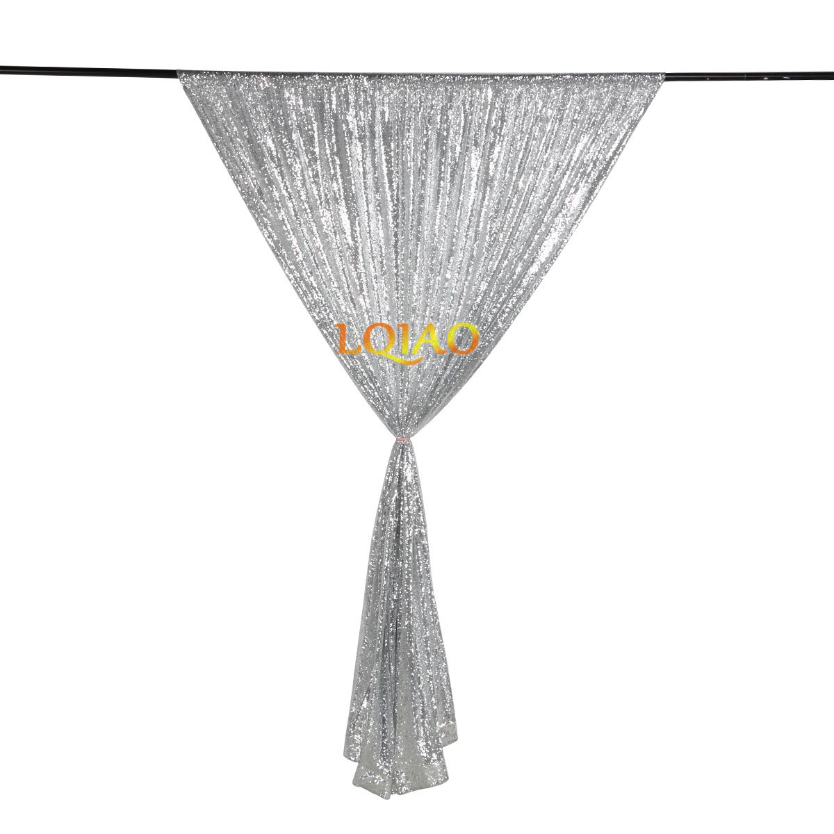 LQIAO Embroidered Sequin Fabric Backdrop Curtain 4FTx8FT Silver Modern Window Drapes Sequin Curtain for living room/photo booth backdrop