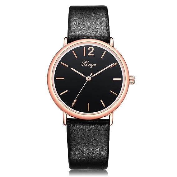 Womens Classic Luxury Watch Minimalist Leather Band Analog Quartz Ladies  Watches (Black Black) 71e83bdf36b1e