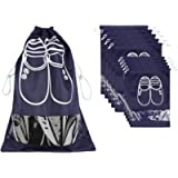 NEWSTYLE 10 PCS Travel Shoe Bags Dust-proof Organizer Storage Bags with Transparent Window (5 x L Navy Blue & 5 x M Navy…