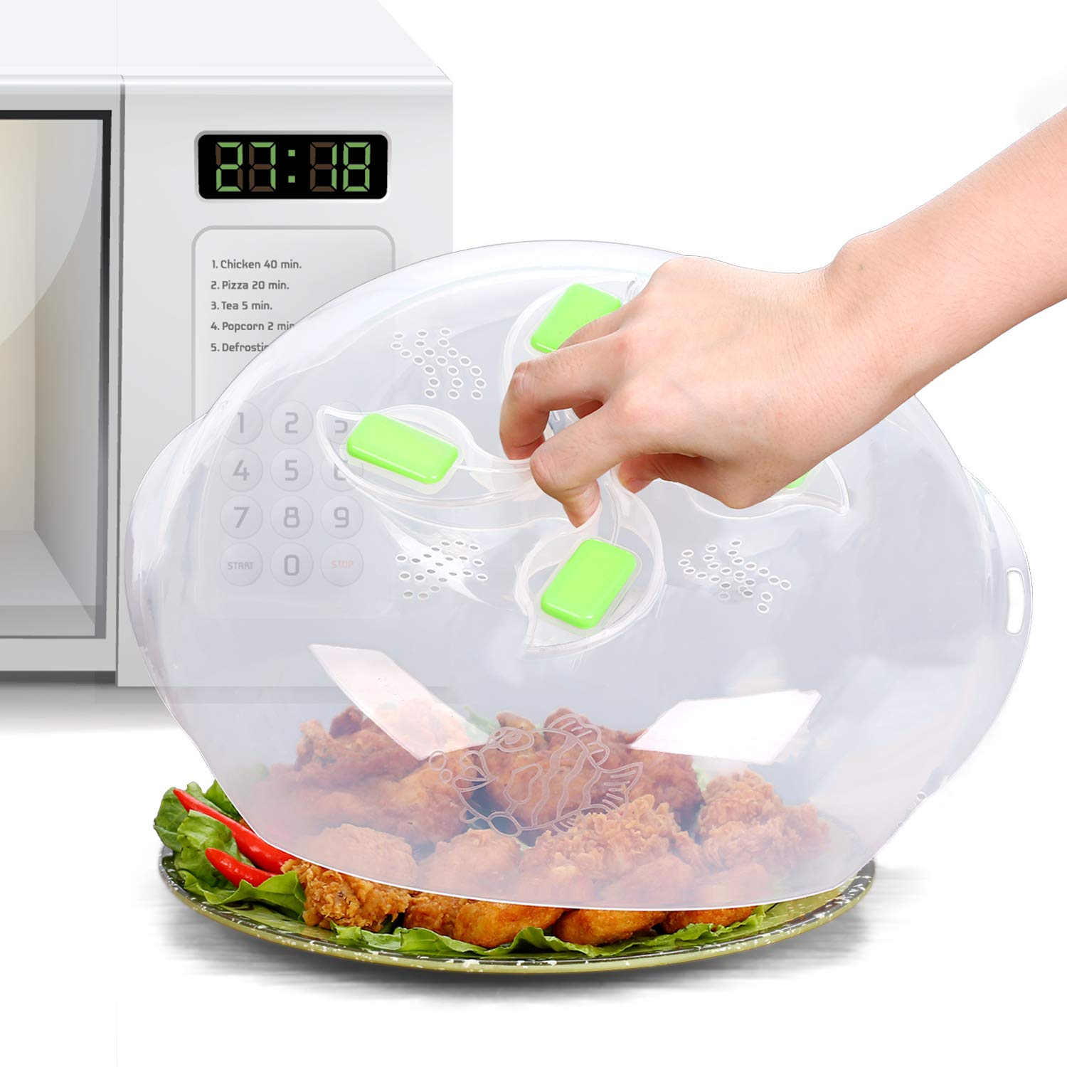 Microwave plate cover, Second Generation, prevent food splatter cover, product -Magnetic adsorption function. safe convenient with steam vent, Food-grade PP