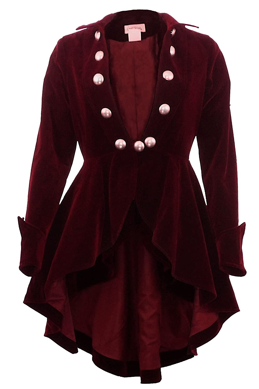 Women's Pirate Captain Wine Waterfall Velvet Jacket - DeluxeAdultCostumes.com
