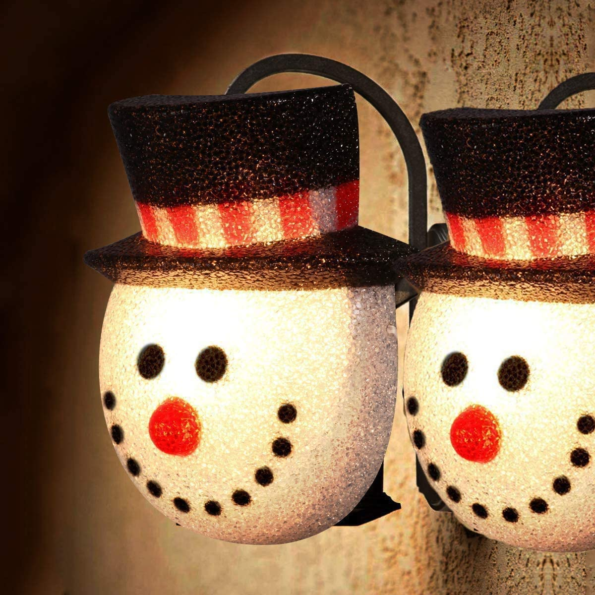 Christmas Snowman Porch Light Covers, Christmas Lamp Shade for Outdoor Christmas Decorations 2 Pack
