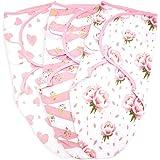 Baby Swaddle Blanket Wrap 3 Pack, Newborn Swaddles 0-3-Month, Small-Medium, Infant Swaddling Sack, Adjustable Swaddle Blanket