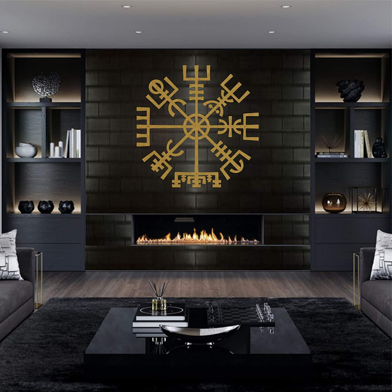 DEKADRON Metal Wall Art, Gold Metal Viking Decor, Nordic Mythology Vegvisir Runes and Symbols, Metal Wall Decor, Norse, Home Decor, Interior Decoration (35