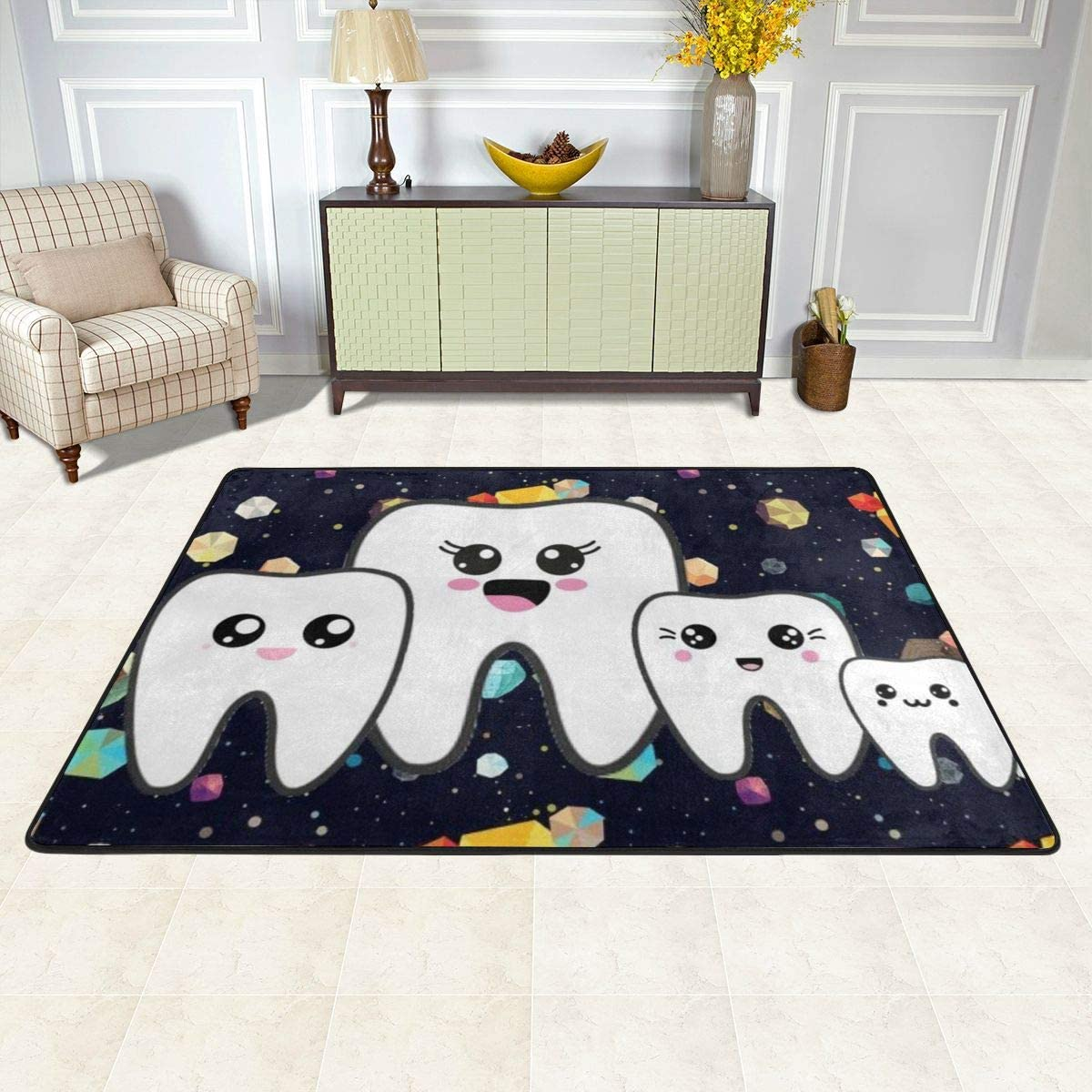 Cozy Carpet, Cute Tooth Starry Sky Non Skid Area Rugs Bathroom Rugs, Classic No Ball Room Mat for Office Tub Decoration 72X48 in