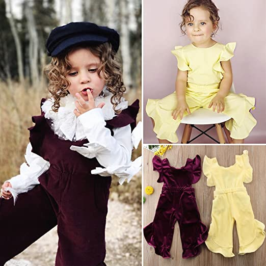 f8b06b836bbb Amazon.com  ONE S Baby Kid Girls Vintage Velvet Flare Sleeve Ruffle Romper  Bow-Knot Jumpsuit Outfits  Clothing